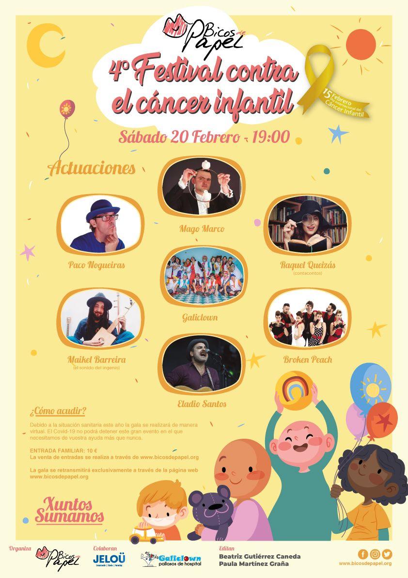 Cartel de la 4º edición de la Gala de Bicos de Papel contra el cáncer infantil.