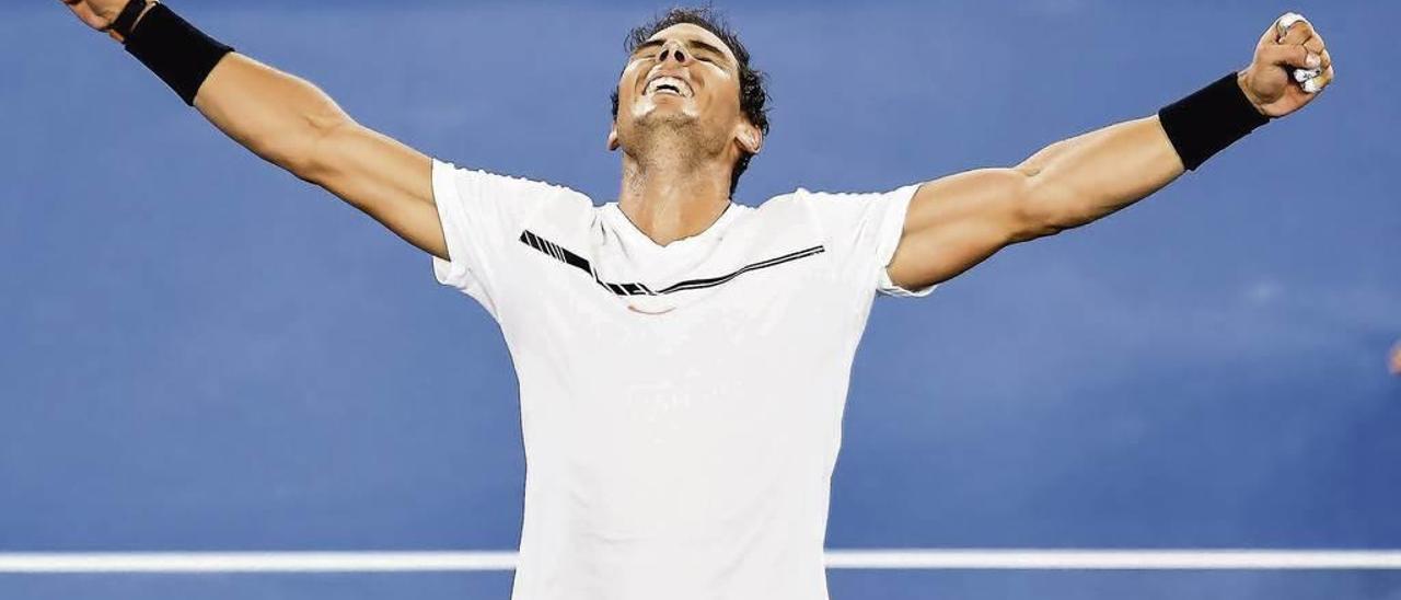 Nadal celebra su victoria sobre Dimitrov. // Filip Singer