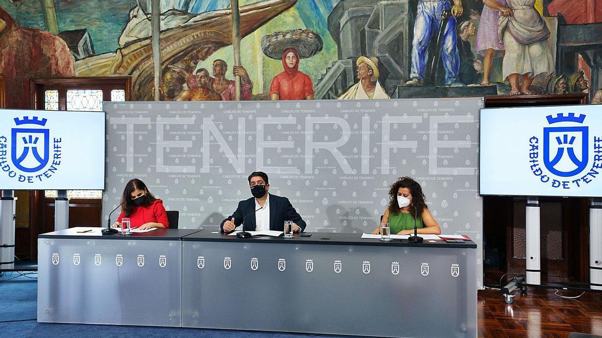 De izquierda a derecha, Mari Brito, Pedro Martín y Carmen Luz Baso, ayer en la presentación de las ayudas para generar empleo.