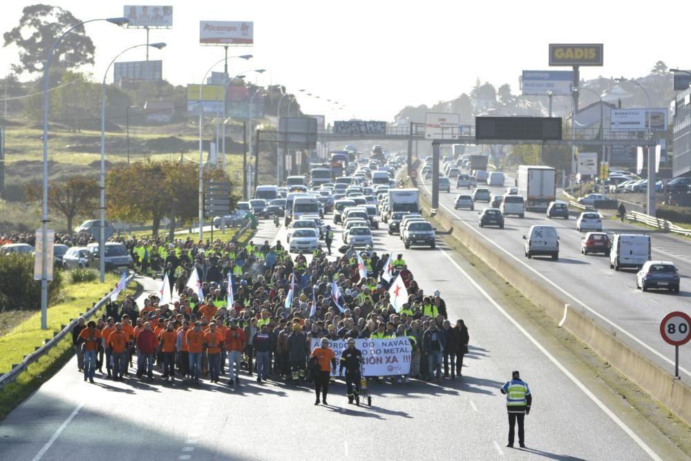 Manifestación en A Coruña de auxiliares del naval