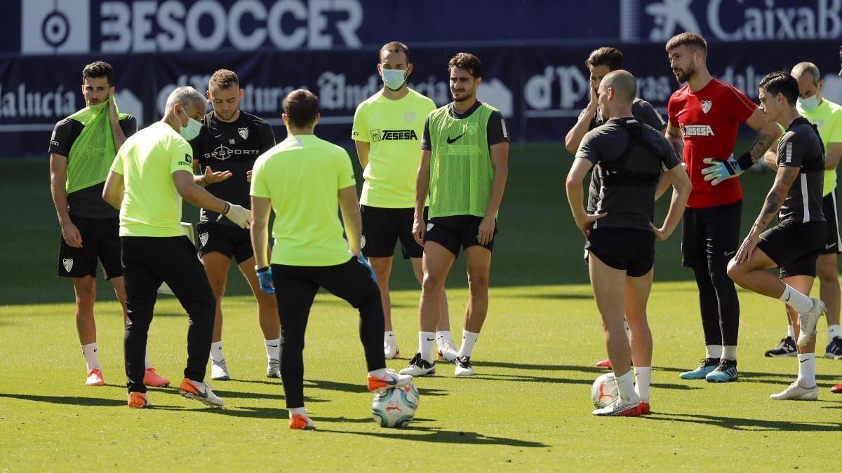 Imagen de un entrenamiento reciente del Málaga CF