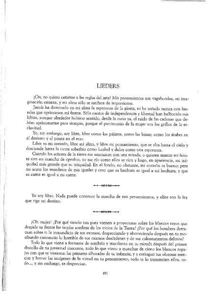 """Copia del escrito de Rosalía de Castro, """"Lieders"""""""