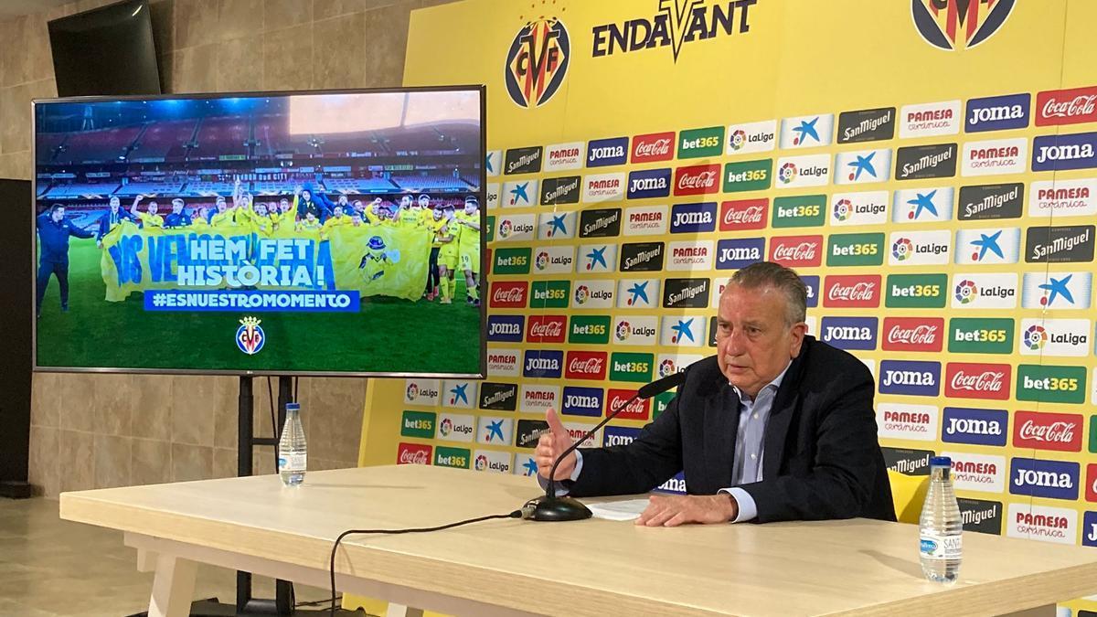El presidente del Villarreal CF, Fernando Roig, durante su comparecencia de este viernes.