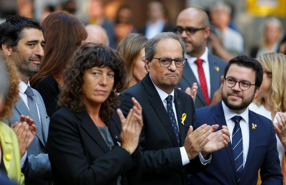El presidente Torra asiste a la ofrenda foral a la estatua de Rafael Casanova, en los actos de la Diada.