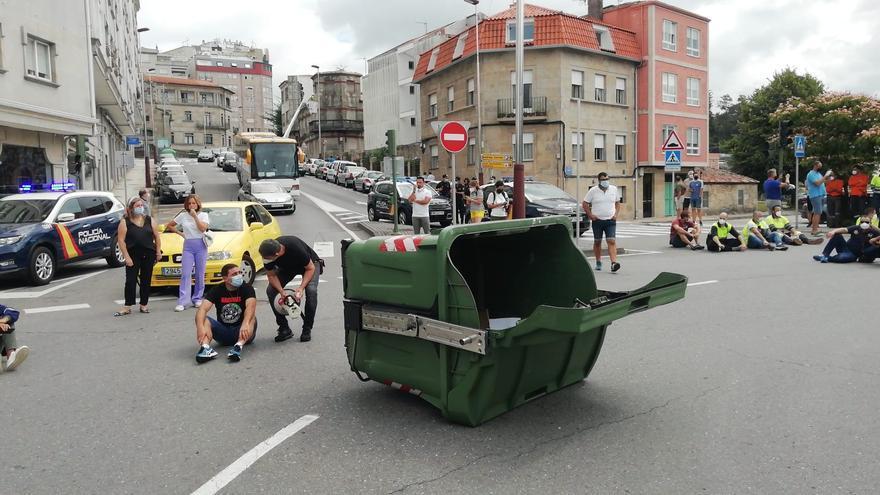 Duras protestas de los trabajadores de Ence en Pontevedra