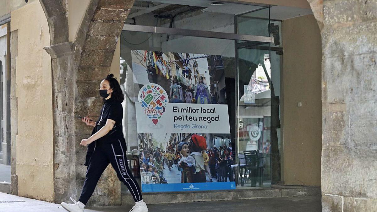 Un local per llogar al centre de Girona, en una imatge d'arxiu