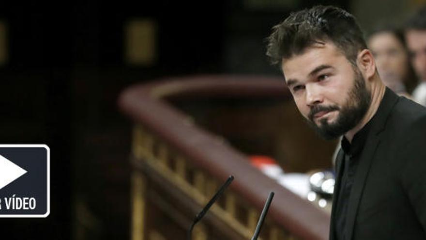 """Rufián tacha de """"traidor"""" al PSOE y provoca su ira"""