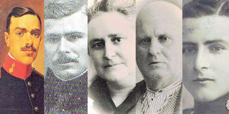 Los murcianos Diego Flomesta Moya, Francisco Martínez Puche, María Luisa Lorente Jara,  Francisco Lorente Ayala y Miguel Lorente Jara.