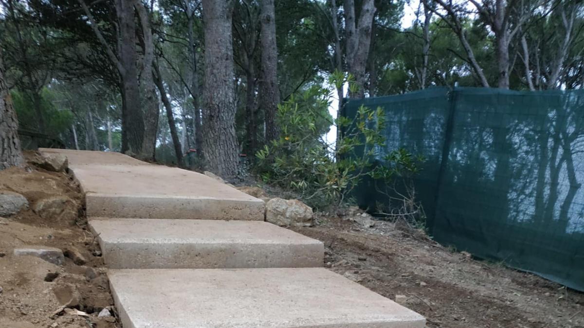 Part de les obres del camí de ronda de Palamós que ja s'han executat, aquest 16 de novembre del 2020