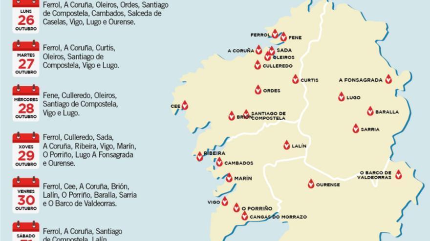 Un mapa del Sergas sitúa a Cangas junto al Miño