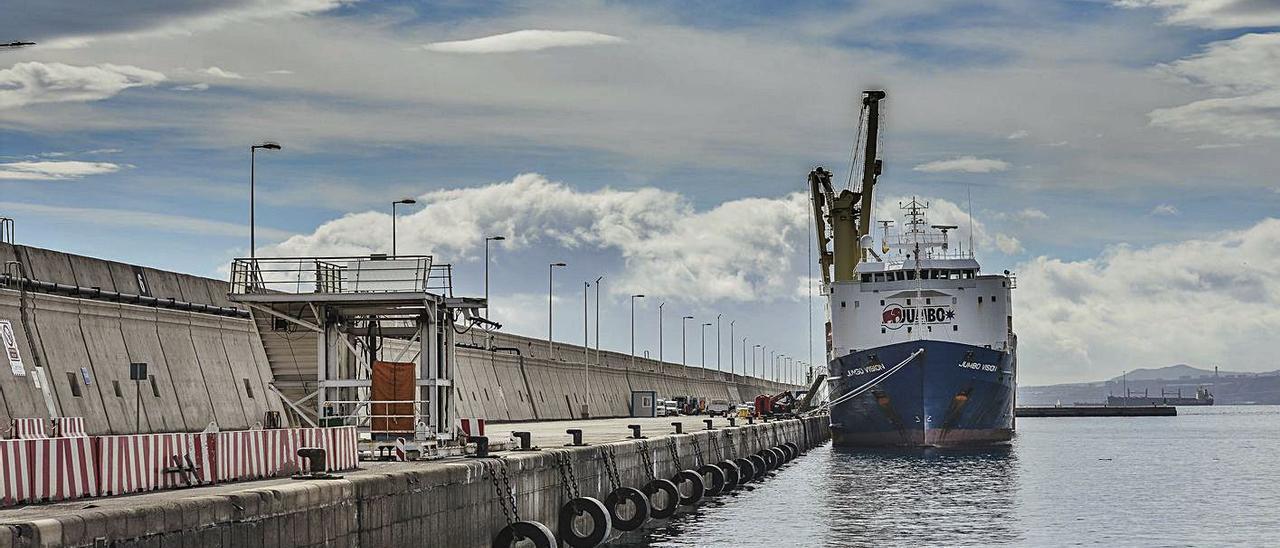 Defensas cilíndricas en el muelle Nelson Mandela del Puerto de Las Palmas.     JOSÉ PÉREZ CURBELO