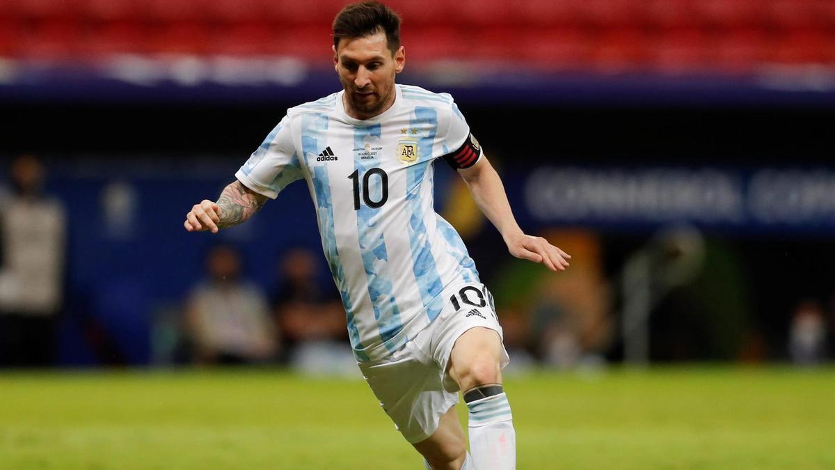 Leo Messi, durante el Argentina-Uruguay.
