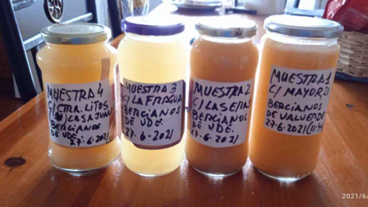 Varias muestras de agua de diferentes zonas de Bercianos recogida, según los vecinos, ayer.   E. P.