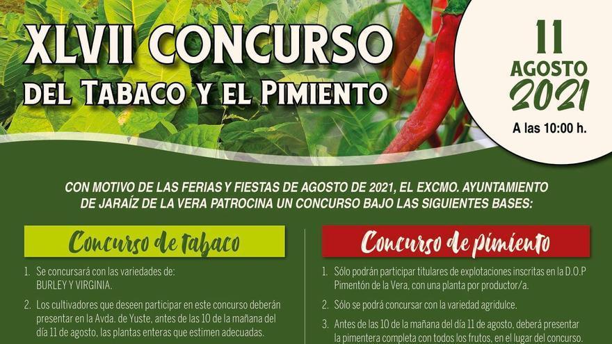 Jaraíz de la Vera convoca el XLVII concurso del tabaco y el pimiento
