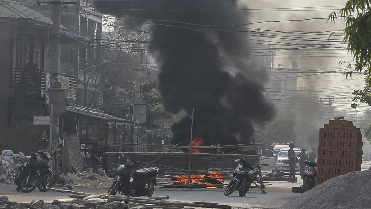 Imagen de las protestas en Birmania.