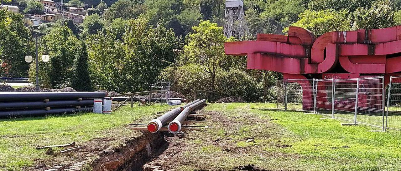 Las obras para llevar la geotermia a Langreo Centro.
