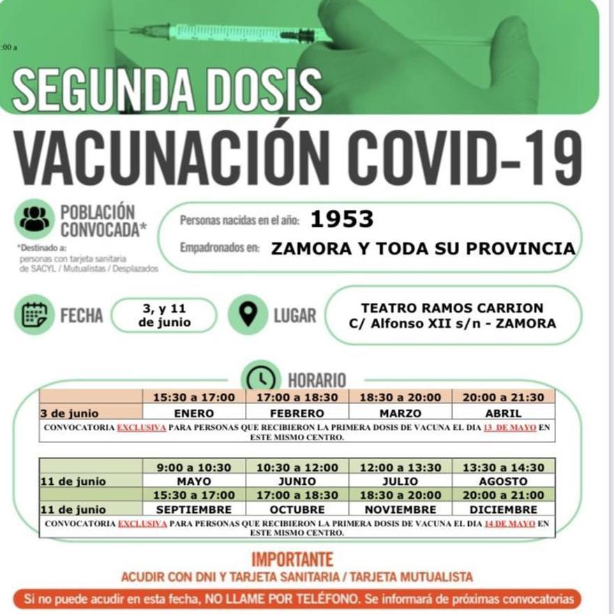 Cartel de vacunación en Zamora - 1953 (segunda dosis)