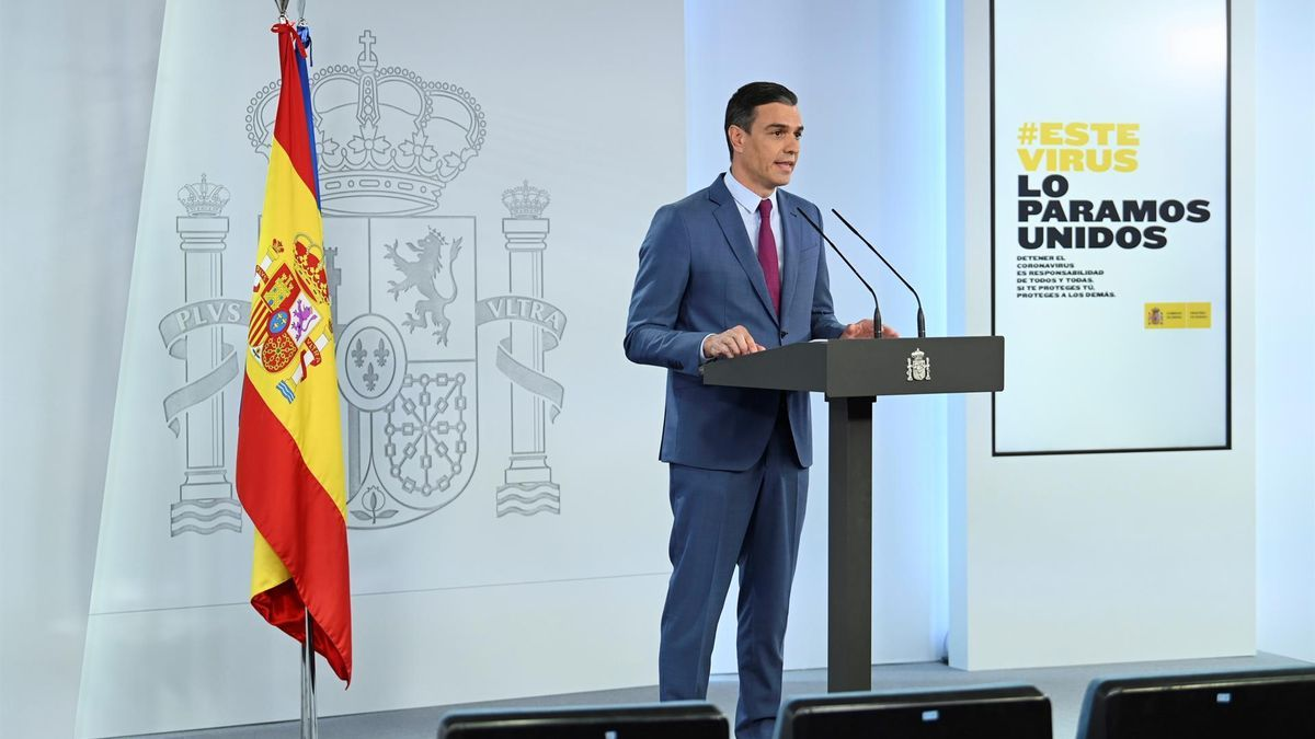 Pedro Sánchez, during his appearance at Moncloa last Saturday.