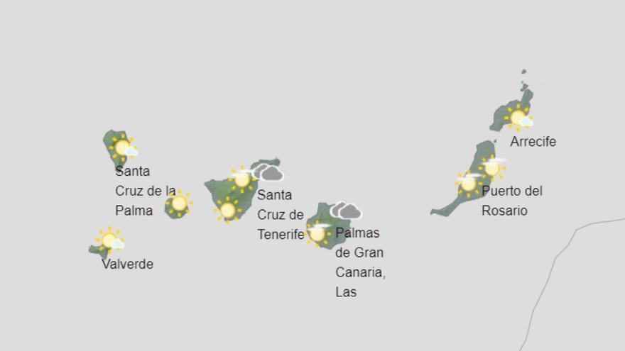 Viento amainando, pocas nubes y más calor el martes en Canarias