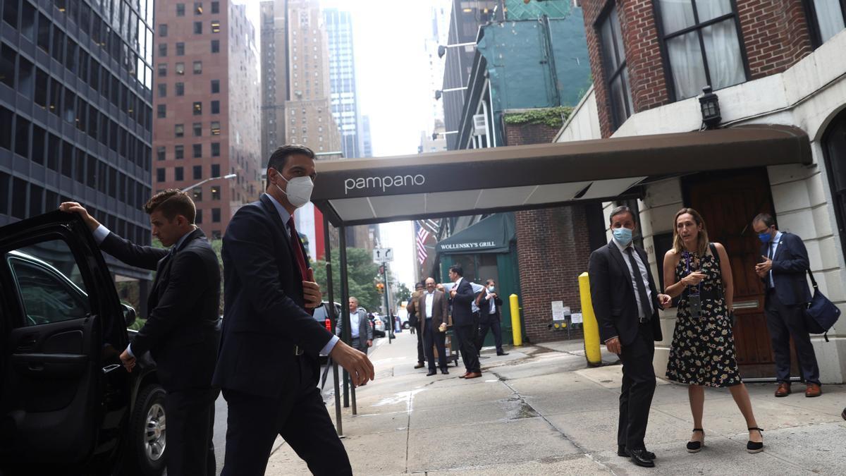 Pedro Sánchez, durante su estancia en Nueva York este miércoles.