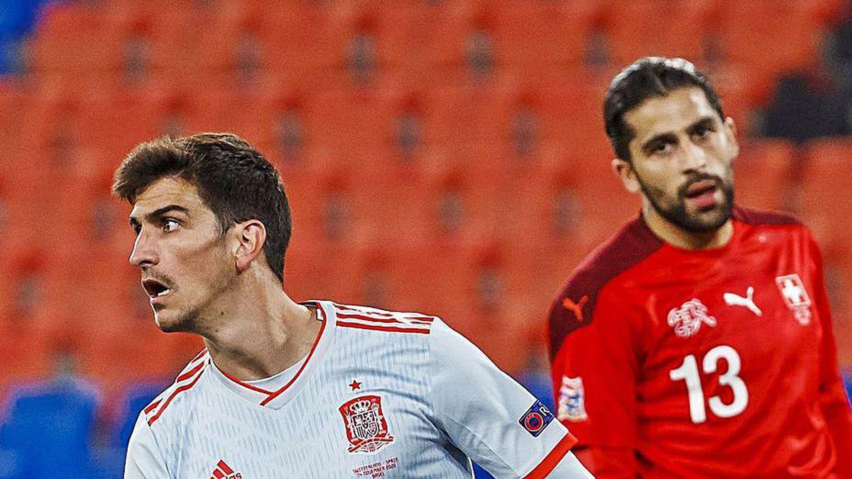 Gerard Moreno celebra su gol a Suiza.