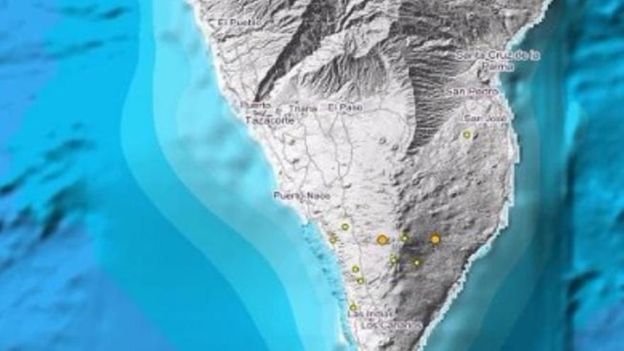 Un enjambre sísmico sacude el sur de La Palma con once temblores en 24 horas