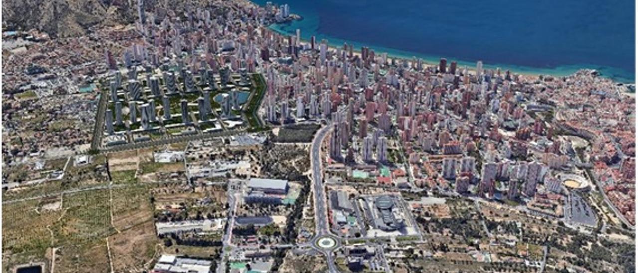 Vista aérea de Benidorm, con el futuro sector Ensanche Levante en primer término.