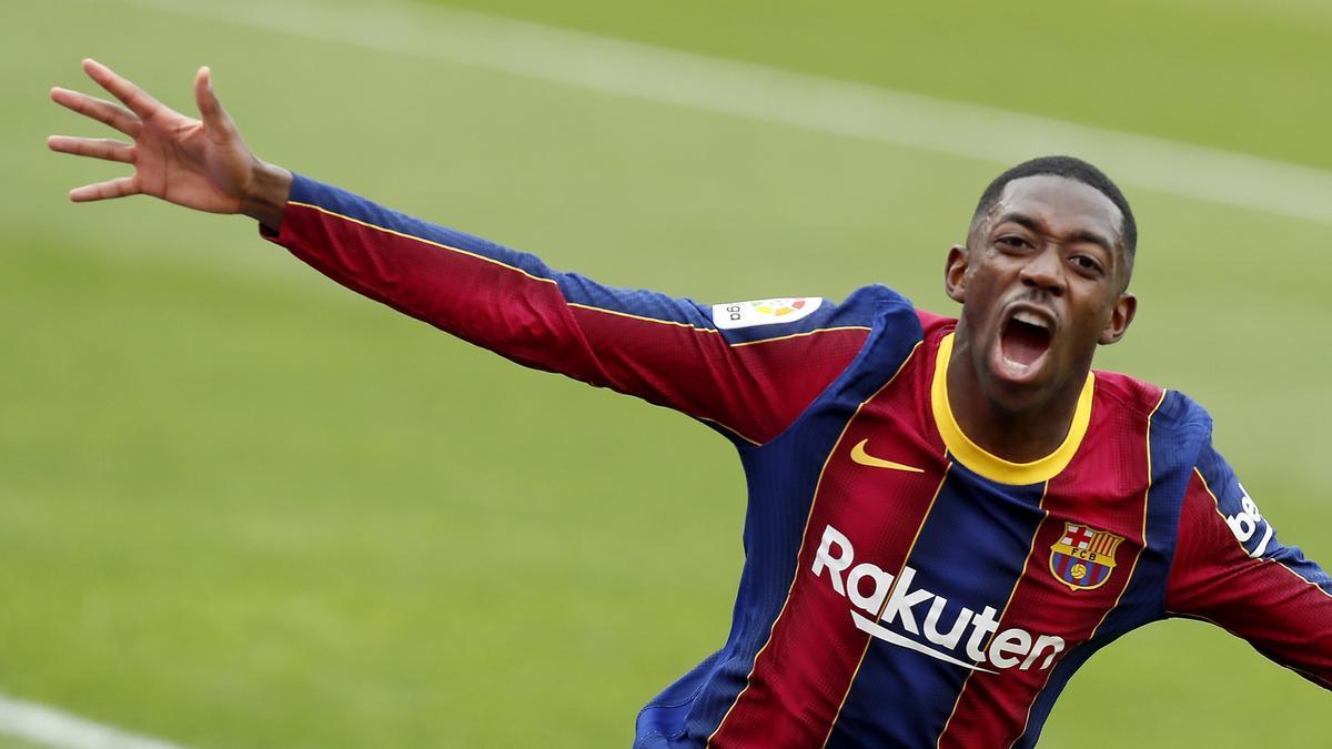 Dembélé celebra un gol con el FC Barcelona