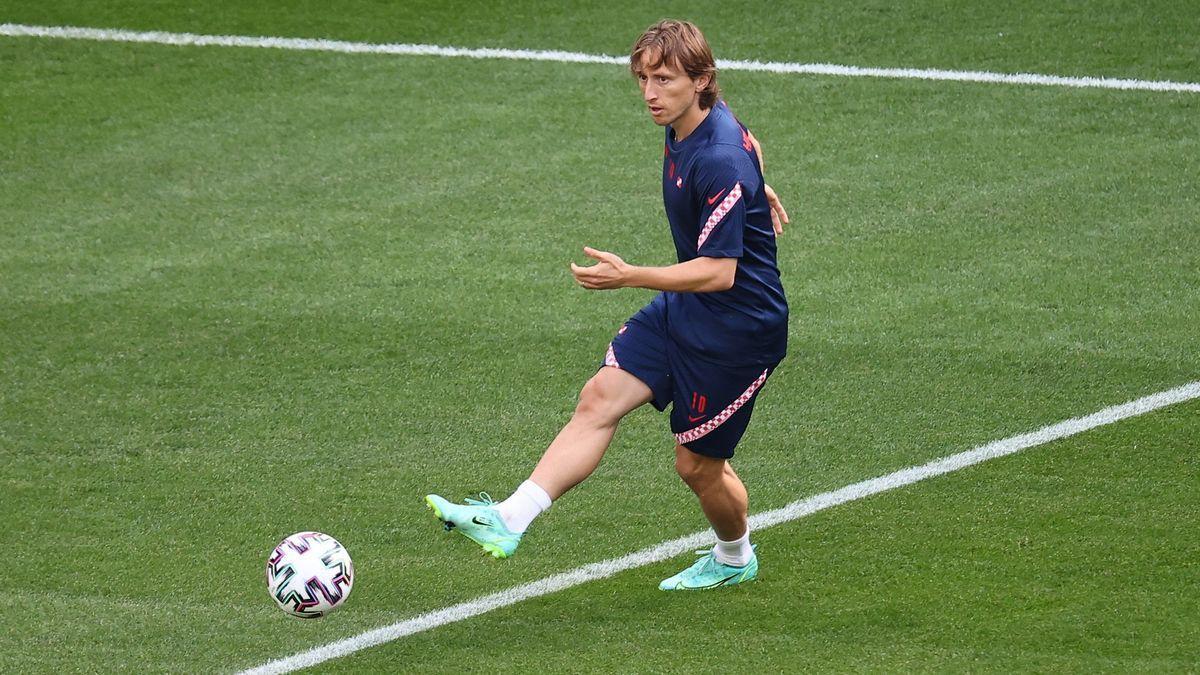 Luca Modric , durante un entrenamiento en Copenhague