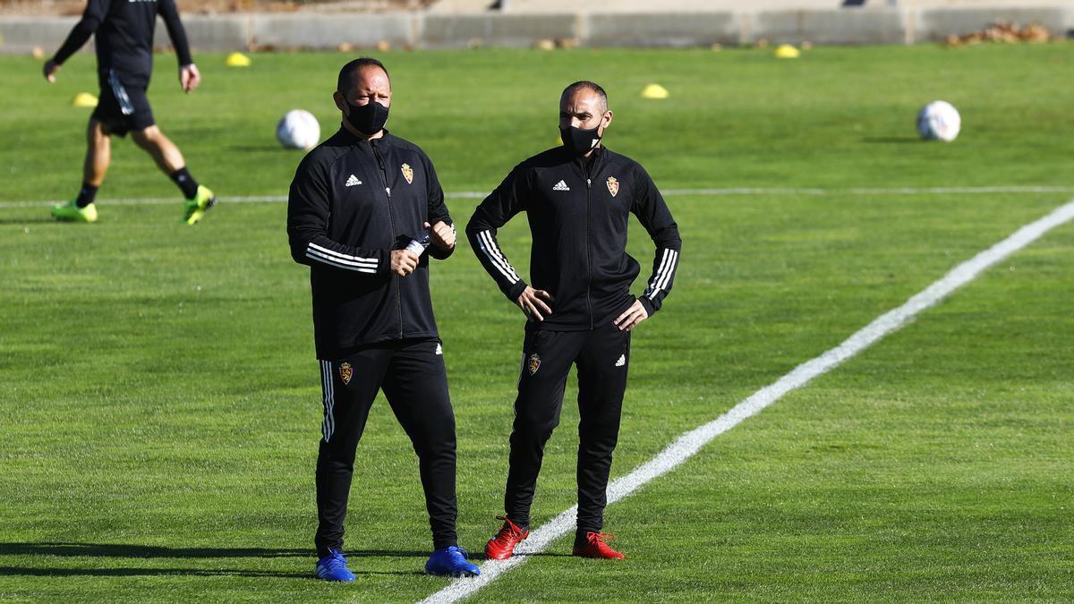 Víctor Búrdalo, junto a Iván Martínez en la Ciudad Deportiva.