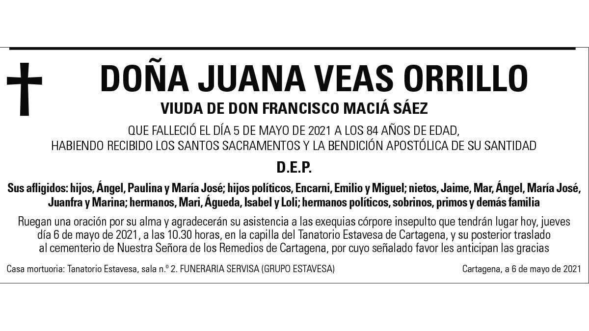 Dª Juana Veas Orrillo