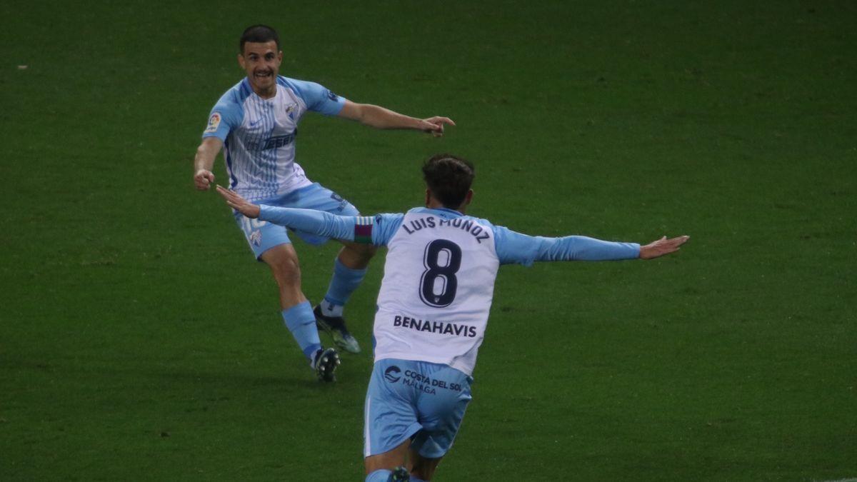 Luis Muñoz celebra el gol logrado ante el Rayo Vallecano