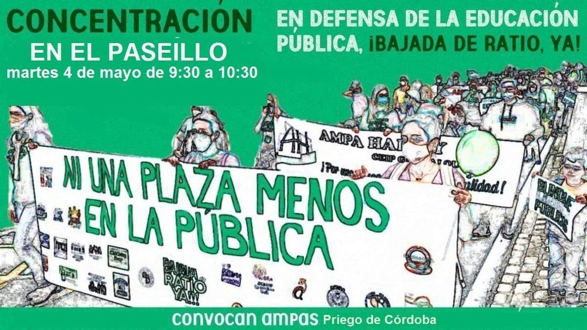 Cartel anunciador de la concentración del martes, 4 de mayo.