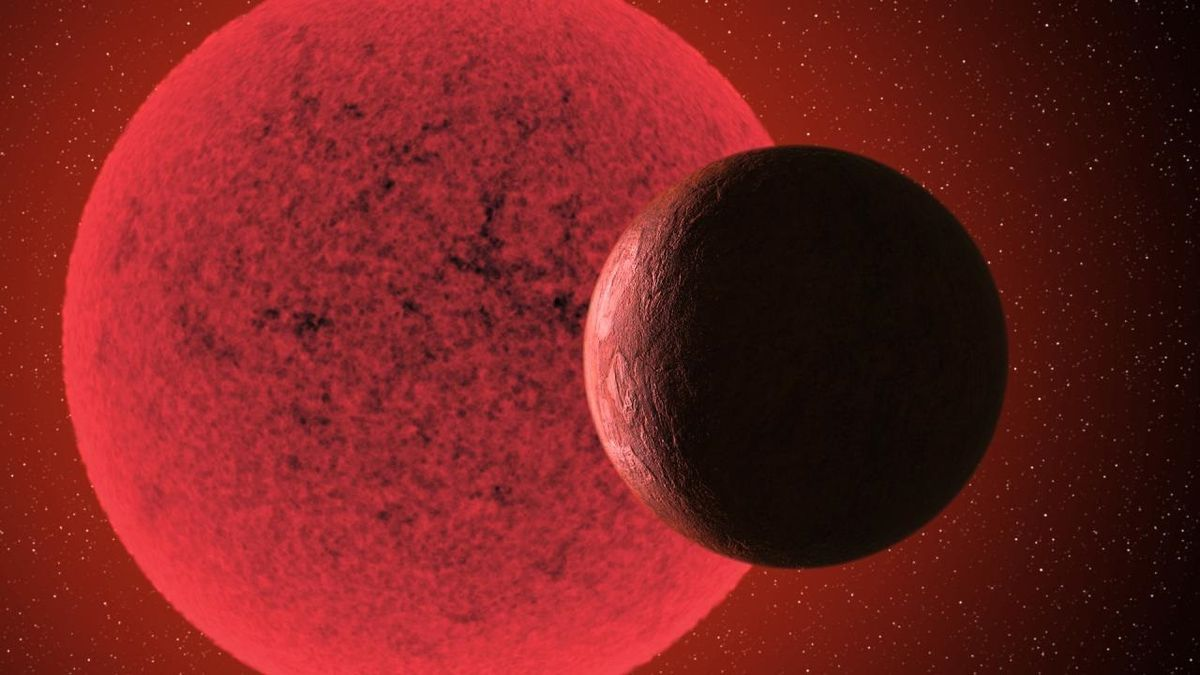 Recreación de la supertierra orbitando alrededor de su estrella.