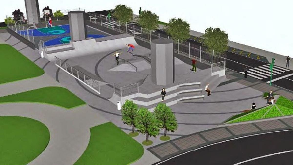 Imagen virtual del 'skatepark' en San Pedro de Mezonzo.  | // L. O.