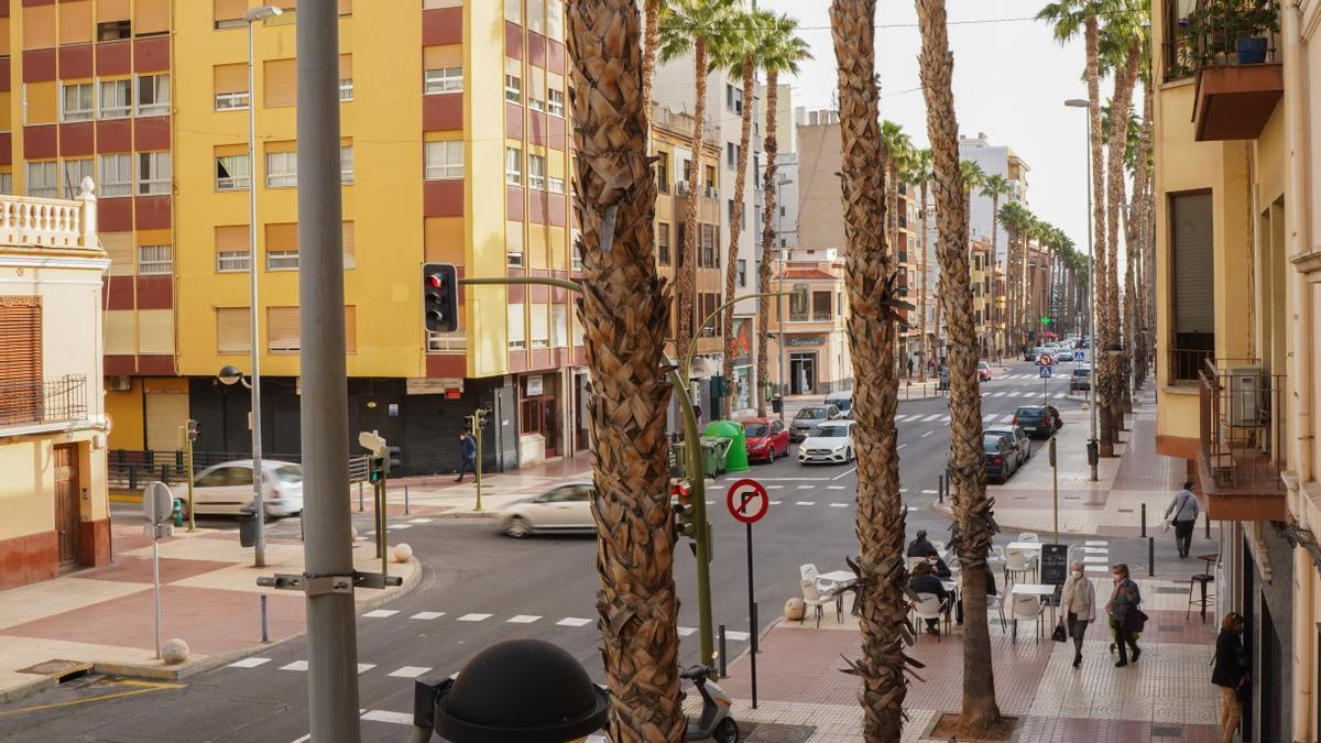 Estado actual de la avenida Lidón, en Castelló.
