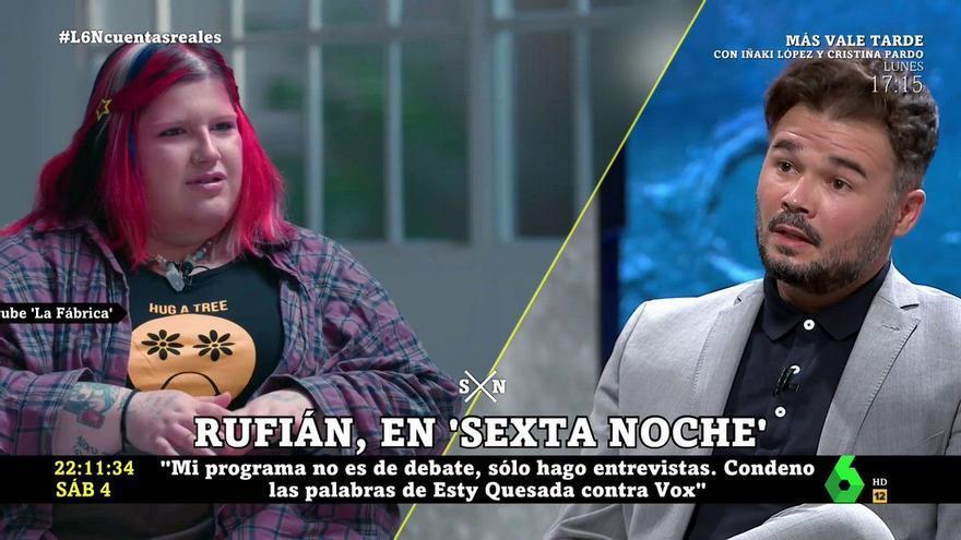 """Rufián se desmarca en 'laSexta Noche': """"Condeno las palabras de Esty Quesada contra Vox"""""""