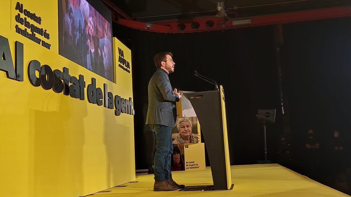 Una imagen de Pere Aragonès durante un mitin