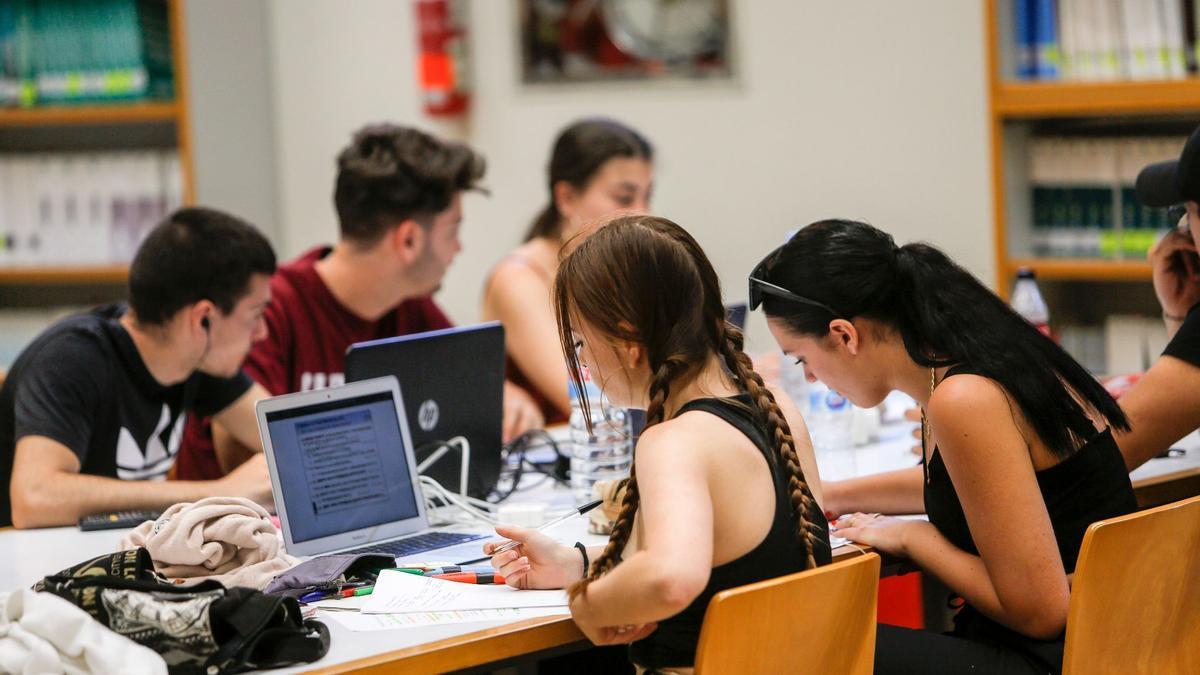 """Alumnado estudiando en la Biblioteca de Ciencias Sociales """"Gregori Maians"""" de la UV."""