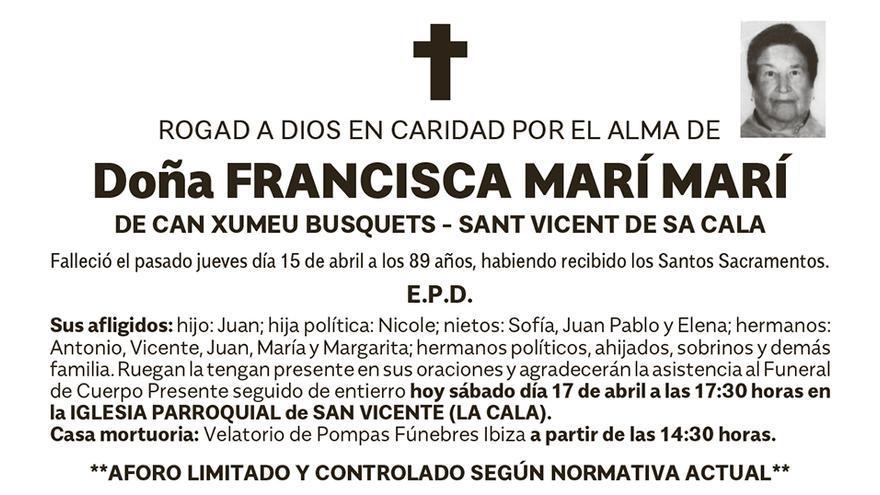 Esquela Francisca Marí Marí