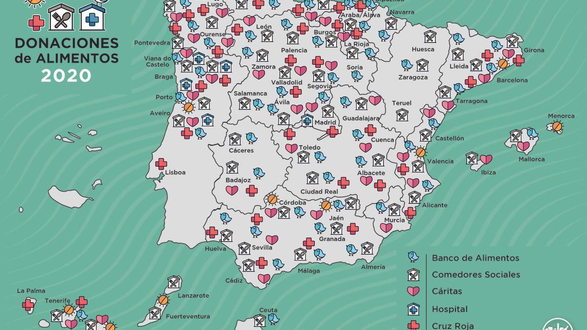 Mapa de donaciones de Mercadona