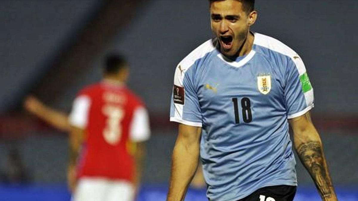 Maxi Gómez celebra un gol con la camiseta de Uruguay. | EFE