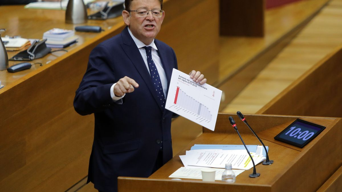 El presidente Puig en una sesión de control en las Corts