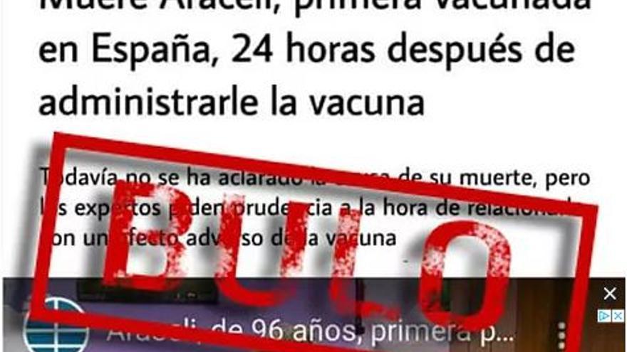 BULO | Araceli, la primera vacunada en España, no ha muerto