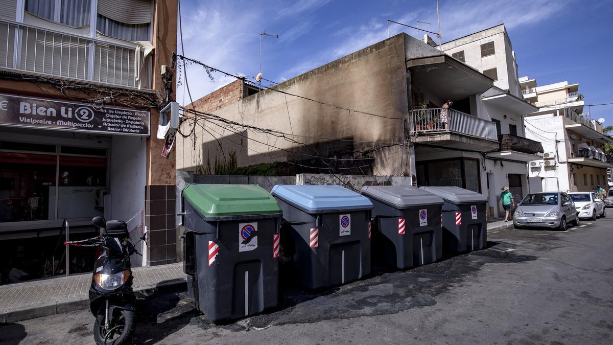 Lugar en el que se produjo el incendio, en la calle Trasimé de s'Arenal.