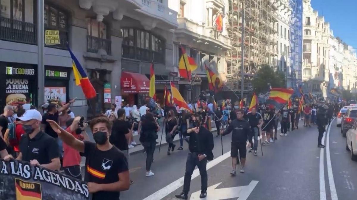 Manifestación de neonazis en Chueca del pasado sábado.