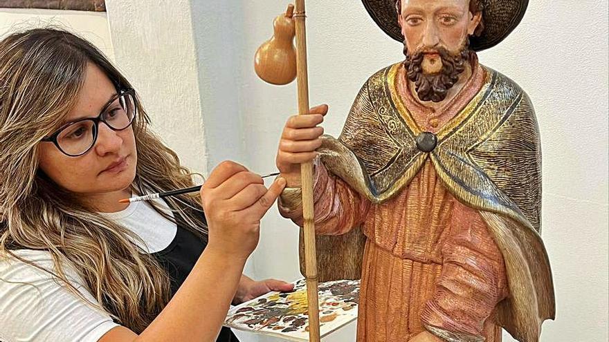 Recuperada y bendecida una imagen de San Roque de finales del siglo XVI