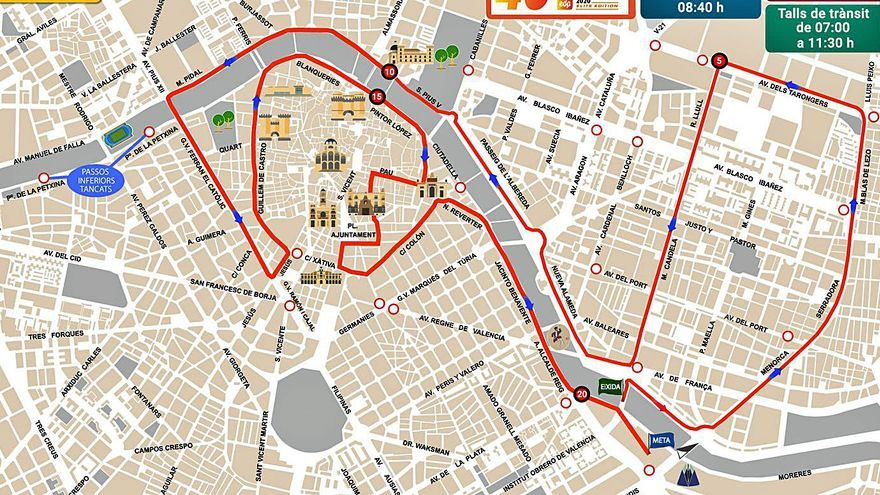 Corte de calles en el maratón del domingo