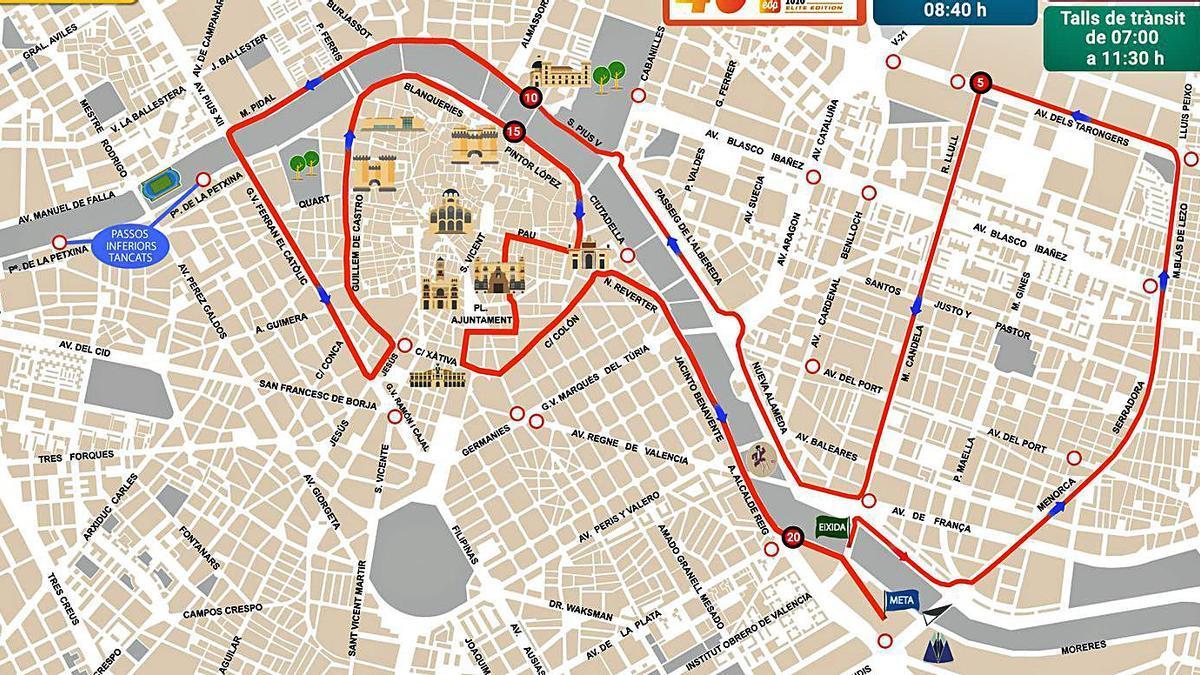 Recorrido y calles cortadas del maratón.  L-EMV   LEVANTE-EMV