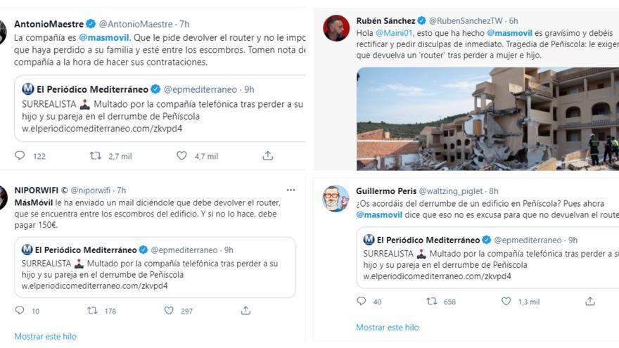 Trending Topic: Las redes claman contra MásMóvil por reclamar el router al afectado por el derrumbe de Peñíscola